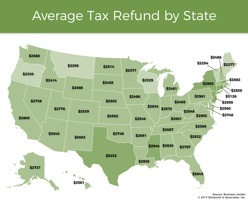 Average Tax Refund Amount by State Map